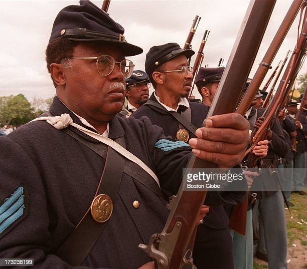 Sgt Andrew Bowman grandson of Sgt Andrew Jackson Smith who was a member of the Massachusetts 54th Volunteer Infantry participates in a reenactment on...