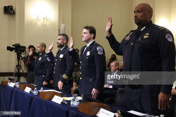 Sgt. Aquilino Gonell of the US Capitol Police, Officer Michael Fanone of the DC Metropolitan Police, Officer Daniel Hodges of the DC Metropolitan...