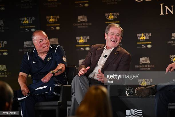 Sgt Israel Del Toro and George W. Bush are seen during the Opening Ceremony of the Invictus Games Orlando 2016 at ESPN Wide World of Sports on May 8,...