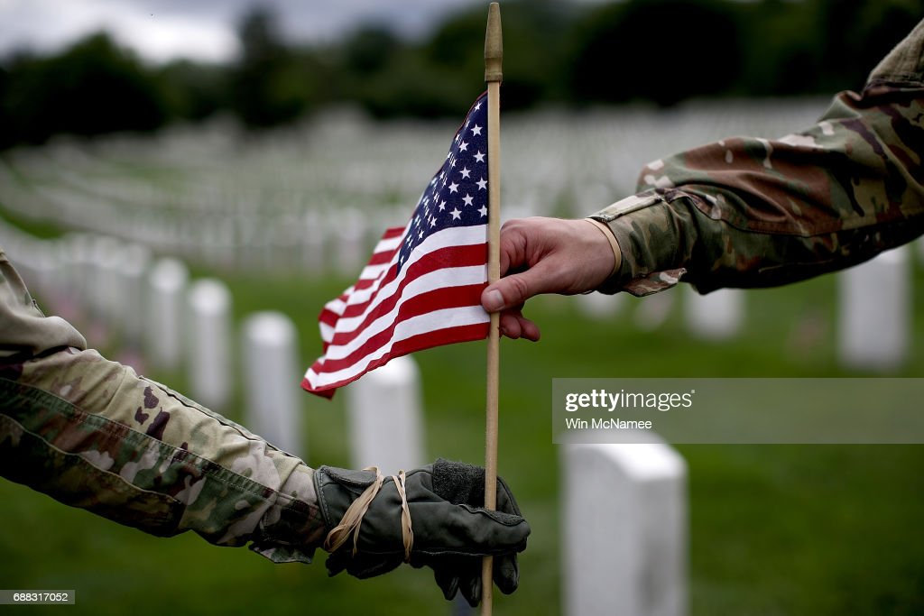 "Fallen Soldiers Honored With ""Flags In"" Tradition At Arlington Nat'l Cemetery : News Photo"