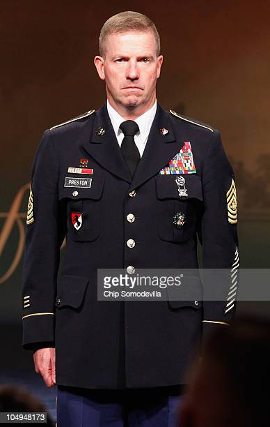 S Sgt Maj of the Army Kenneth Preston participates in a ceremony to posthumously induct Medal of Honor recipient US Army Staff Sgt Robert Miller to...