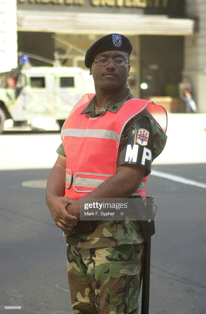 Sgt. Metts, of the D.C. National Guard, stands at the corner of 15 and L streets, NW. The National Guard assembled yesterday at the D.C. Armory to restore peace to the streets of Washington D.C..