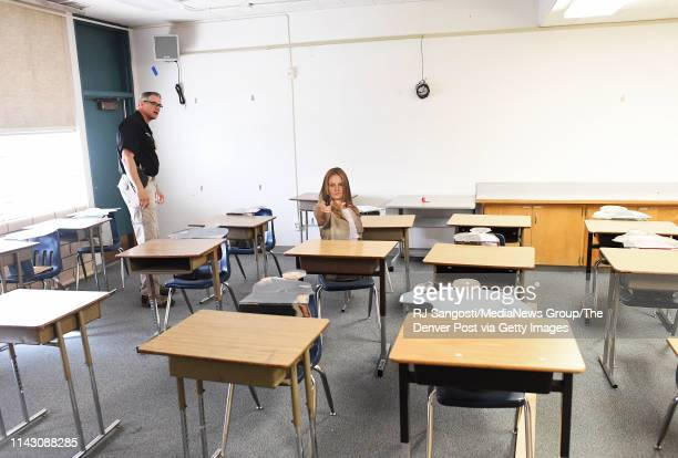 Sgt. Mike Touchton watches a student, police officer, as he approaches a class room, set up for active school shooter training, at Frank DeAngelis...