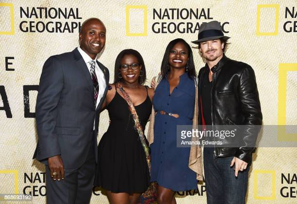 Sgt Reginald Butler Gold Star family members Akilaah Cason and Allison Cason and actor Ian Somerhalder arrive at the premiere of National...