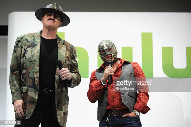 Sgt Slaughter and Rey Mysterio attend Hulu NY Upfront on April 30 2013 in New York City
