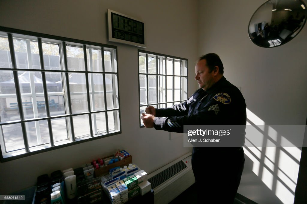 Sgt. Steven Bowles shows were jail-cell-looking bars were installed in the windows during a movie shoot as he gives a tour of the pay-to-stay program at the Seal Beach Detention center in Seal Beach. Project is a first-ever review of all 26 pay to stay jails in Southern California, where we've found inmates convicted of violent crimes and sex crimes, and repeat offenders. Seal Beach is by far the most lucrative of the programs, and appears to allow the most serious charges. Photo taken Tuesday, Nov. 29, 2016.