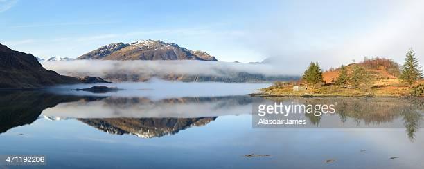 Sgurr Mhic Bharraich, Scottish mist and Loch Duich panorama