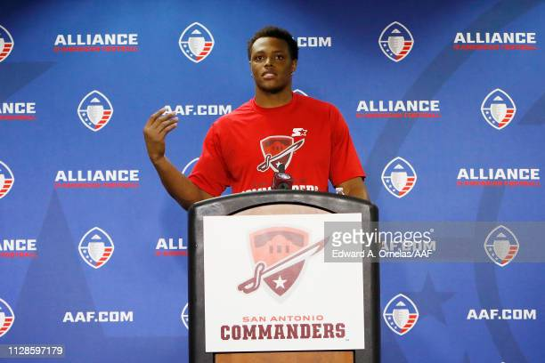 ShaanWashington of the San Antonio Commanders speaks during a press conference after the San Antonio Commanders defeated the San Diego Fleet 156 in...