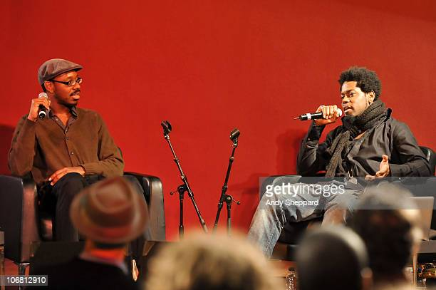 Shabaka Hutchings and Soweto Kinch discuss influencial Jazz history at The Front Room during the second day of London Jazz Festival 2010 on November...