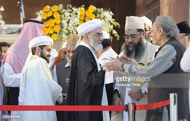 Shaban Ahmed Bukhari and his father Syed Ahmed Bukhari Shahi Imam of Delhis Jama Masjid meeting with guests after his father anointed him as his...