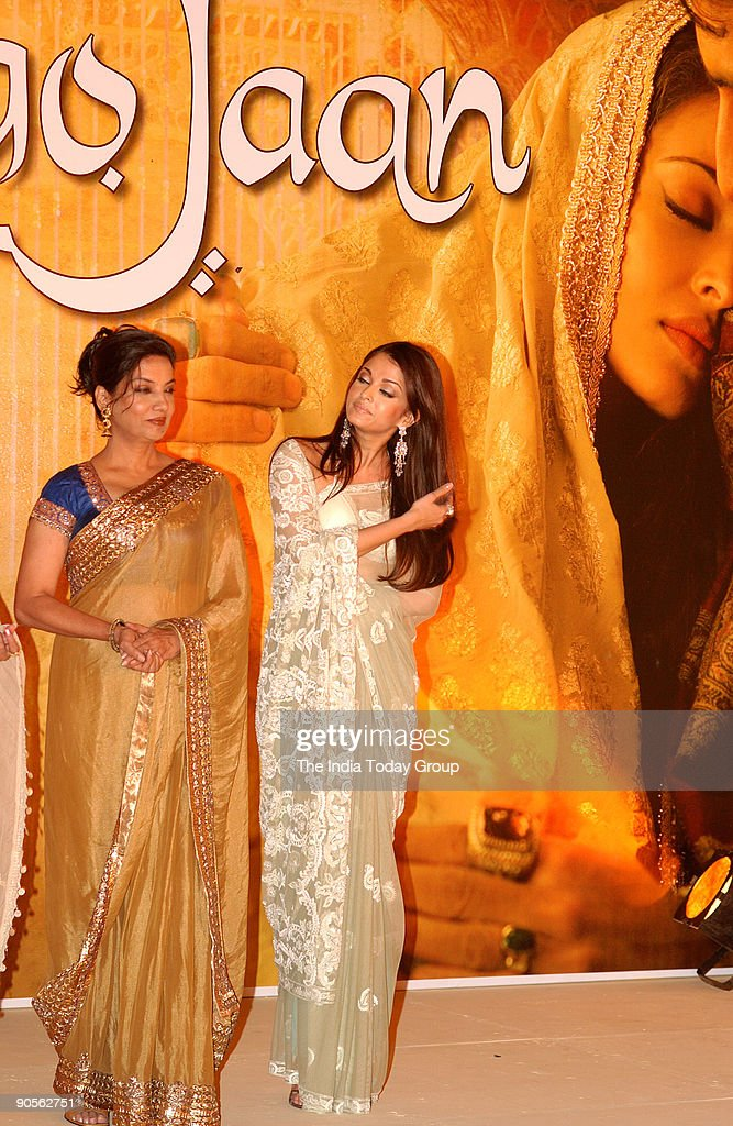 Shabana Azmi and Aishwarya Rai during the music launch of Umrao Jaan in Mumbai Maharashtra India