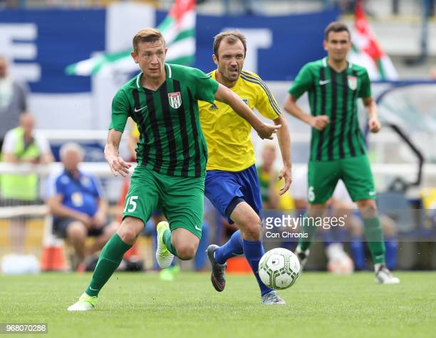Shabat Logua of Abkhazia chases the ball during the CONIFA World Football Cup 2018 match between Abkhazia and Karpatalya at Enfield Town on June 2...