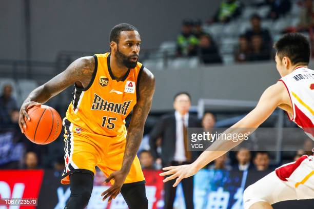 Shabazz Muhammad of Shanxi Brave Dragons controls the ball during the 2018/2019 Chinese Basketball Association League 11th round match between...