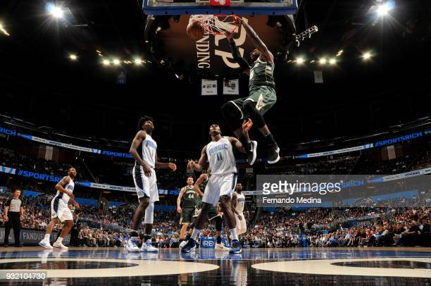 Shabazz Muhammad of the Milwaukee Bucks dunks the ball against the Orlando Magic on March 14 2018 at Amway Center in Orlando Florida NOTE TO USER...