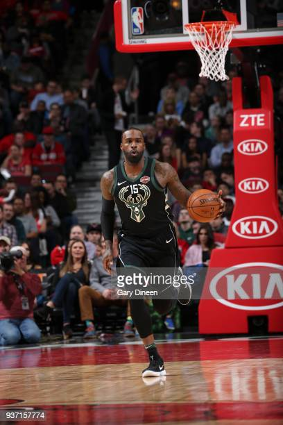 Shabazz Muhammad of the Milwaukee Bucks handles the ball against the Chicago Bulls on March 23 2018 at the United Center in Chicago Illinois NOTE TO...