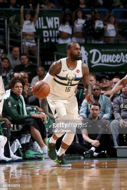 Shabazz Muhammad of the Milwaukee Bucks handles the ball against the San Antonio Spurs on March 25 2018 at the BMO Harris Bradley Center in Milwaukee...