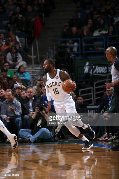 Shabazz Muhammad of the Milwaukee Bucks handles the ball against the Boston Celtics on April 3 2018 at the BMO Harris Bradley Center in Milwaukee...