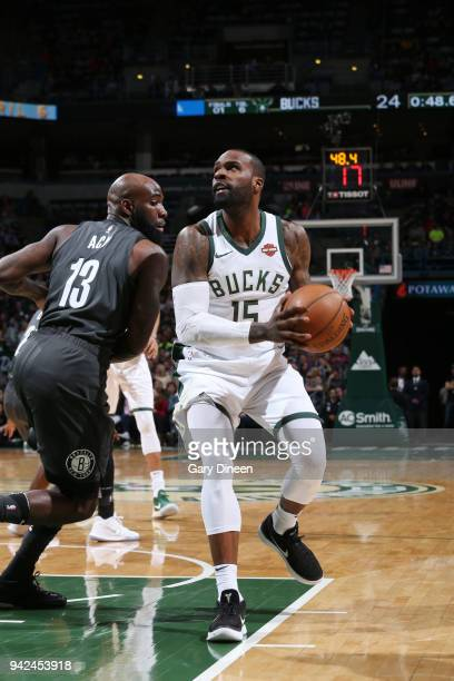 Shabazz Muhammad of the Milwaukee Bucks handles the ball against the Brooklyn Nets on April 5 2018 at the BMO Harris Bradley Center in Milwaukee...