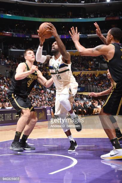 Shabazz Muhammad of the Milwaukee Bucks shoots the ball during the game against the Los Angeles Lakers on March 30 2018 at STAPLES Center in Los...