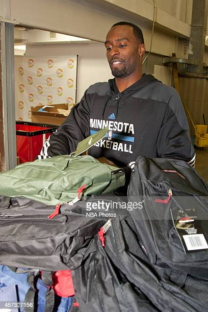 Shabazz Muhammad of the Minnesota Timberwolves and staff assemble and distribute backpacks filled with school supplies as part of the Minnesota...