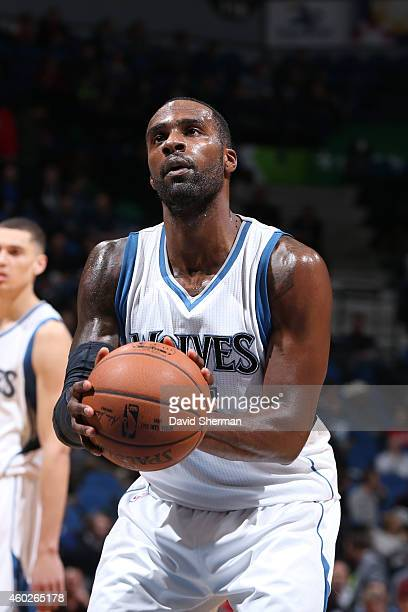 Shabazz Muhammad of the Minnesota Timberwolves attempts a free throw against the Portland Trail Blazers on December 10 2014 at Target Center in...