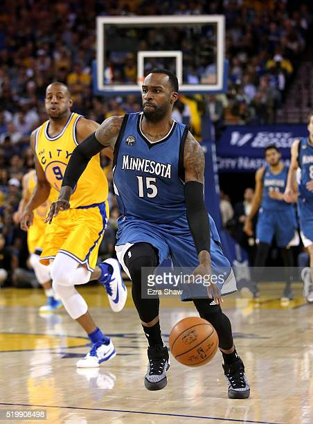 Shabazz Muhammad of the Minnesota Timberwolves dribbles the ball against the Golden State Warriors at ORACLE Arena on April 5 2016 in Oakland...