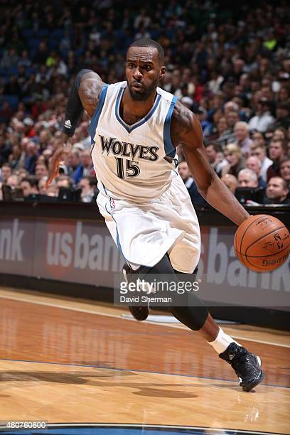 Shabazz Muhammad of the Minnesota Timberwolves drives to the basket against the Indiana Pacers on December 21 2014 at Target Center in Minneapolis...