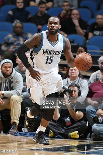 Shabazz Muhammad of the Minnesota Timberwolves drives to the basket against the Denver Nuggetsduring the game on January 5 2015 at Target Center in...
