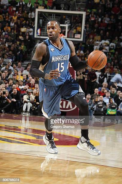 Shabazz Muhammad of the Minnesota Timberwolves drives to the basket against the Cleveland Cavaliers during the game on January 25 2016 at Quicken...