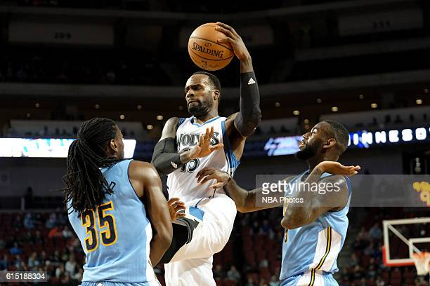 Shabazz Muhammad of the Minnesota Timberwolves drives to the basket against the Denver Nuggets during a preseason game on October 12 2016 at Pinnacle...
