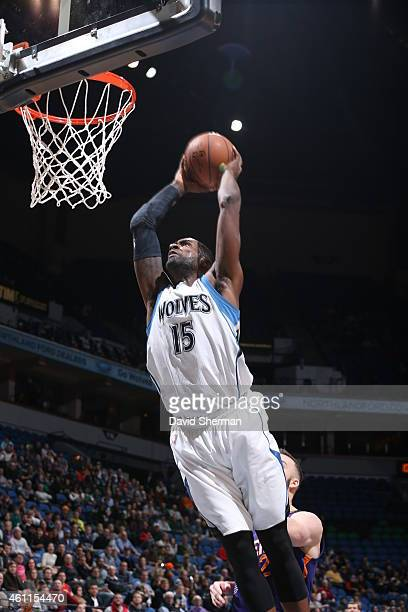Shabazz Muhammad of the Minnesota Timberwolves dunks against the Phoenix Suns on January 7 2015 at Target Center in Minneapolis Minnesota NOTE TO...