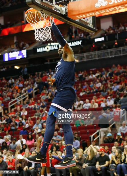 Shabazz Muhammad of the Minnesota Timberwolves dunks in the fourth quarter against the Houston Rockets at Toyota Center on February 23 2018 in...