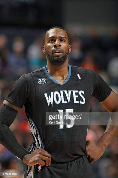 Shabazz Muhammad of the Minnesota Timberwolves during a game against the Charlotte Bobcats at the Time Warner Cable Arena on March 14 2014 in...