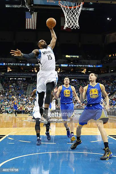Shabazz Muhammad of the Minnesota Timberwolves goes for the dunk against the Golden State Warriorsduring the game on February 11 2015 at Target...
