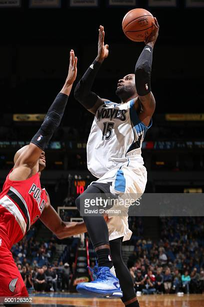 Shabazz Muhammad of the Minnesota Timberwolves goes for the layup against the Portland Trail Blazers during the game on December 5 2015 at Target...