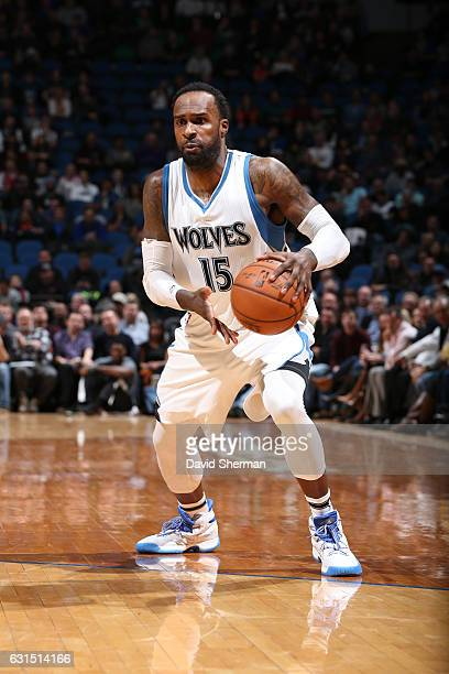 Shabazz Muhammad of the Minnesota Timberwolves handles the ball during a game against the Houston Rockets on January 11 2017 at the Target Center in...