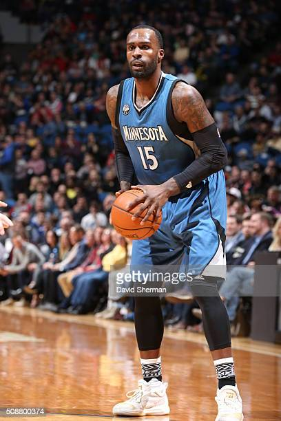 Shabazz Muhammad of the Minnesota Timberwolves handles the ball against the Chicago Bulls on February 6 2016 at Target Center in Minneapolis...