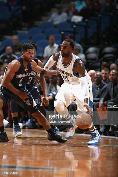 Shabazz Muhammad of the Minnesota Timberwolves handles the ball against the Memphis Grizzlies on November 1 2016 at Target Center in Minneapolis...
