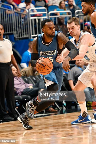 Shabazz Muhammad of the Minnesota Timberwolves handles the ball during the game against the Orlando Magic on November 9 2016 at Amway Center in...