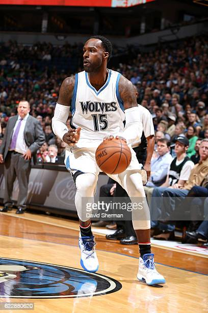 Shabazz Muhammad of the Minnesota Timberwolves handles the ball during the game against the Los Angeles Clippers on November 12 2016 at Target Center...