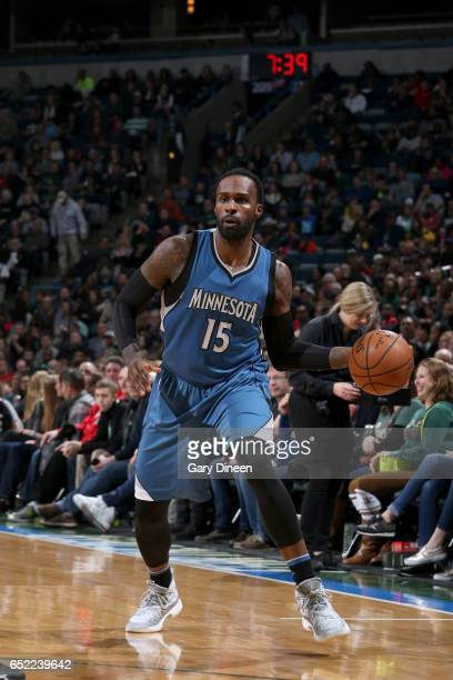 Shabazz Muhammad of the Minnesota Timberwolves handles the ball against the Milwaukee Bucks on March 11 2017 at the BMO Harris Bradley Center in...