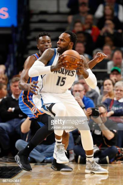 Shabazz Muhammad of the Minnesota Timberwolves handles the ball against the Oklahoma City Thunder on April 11 2017 at Target Center in Minneapolis...