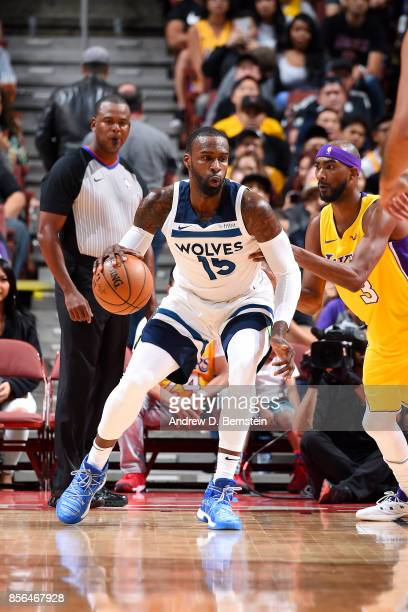 Shabazz Muhammad of the Minnesota Timberwolves handles the ball during the game against the Los Angeles Lakers during the preseason game on September...