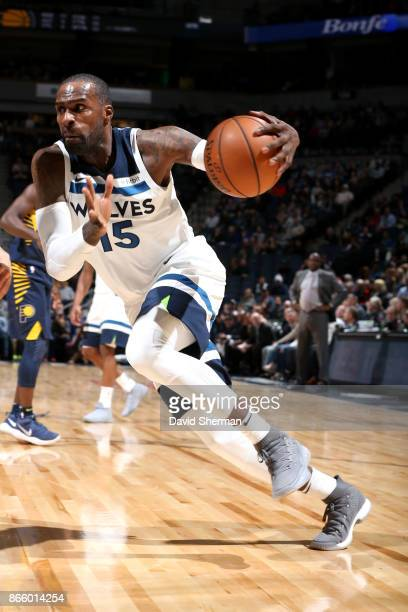 Shabazz Muhammad of the Minnesota Timberwolves handles the ball against the Indiana Pacers on October 24 2017 at Target Center in Minneapolis...