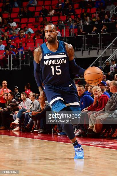 Shabazz Muhammad of the Minnesota Timberwolves handles the ball against the Detroit Pistons on October 25 2017 at Little Caesars Arena in Detroit...