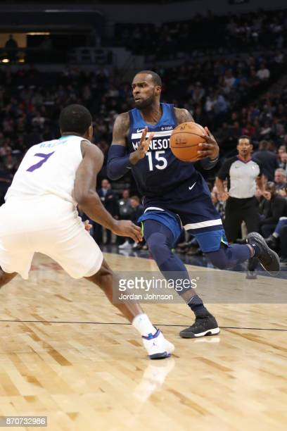 Shabazz Muhammad of the Minnesota Timberwolves handles the ball against the Charlotte Hornets on November 5 2017 at Target Center in Minneapolis...