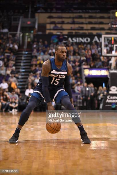 Shabazz Muhammad of the Minnesota Timberwolves handles the ball against the Phoenix Suns on November 11 2017 at Talking Stick Resort Arena in Phoenix...