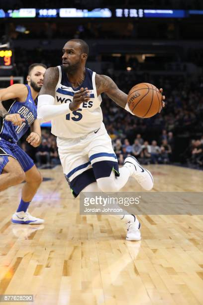 Shabazz Muhammad of the Minnesota Timberwolves handles the ball against the Orlando Magic on November 22 2017 at Target Center in Minneapolis...