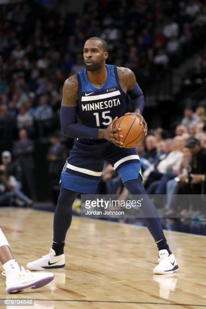 Shabazz Muhammad of the Minnesota Timberwolves handles the ball against the Phoenix Suns on November 26 2017 at Target Center in Minneapolis...