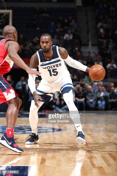 Shabazz Muhammad of the Minnesota Timberwolves handles the ball during the game against the Washington Wizards on November 27 2017 at Target Center...